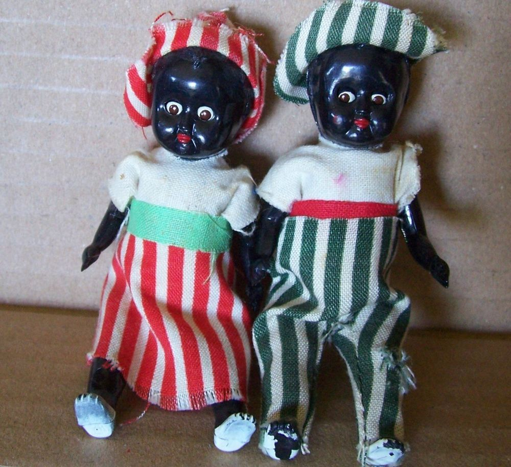 Antique MINIATURE 3 inch  BLACK DOLL Pair - Jointed with Sleepy Eyes. Adorable!