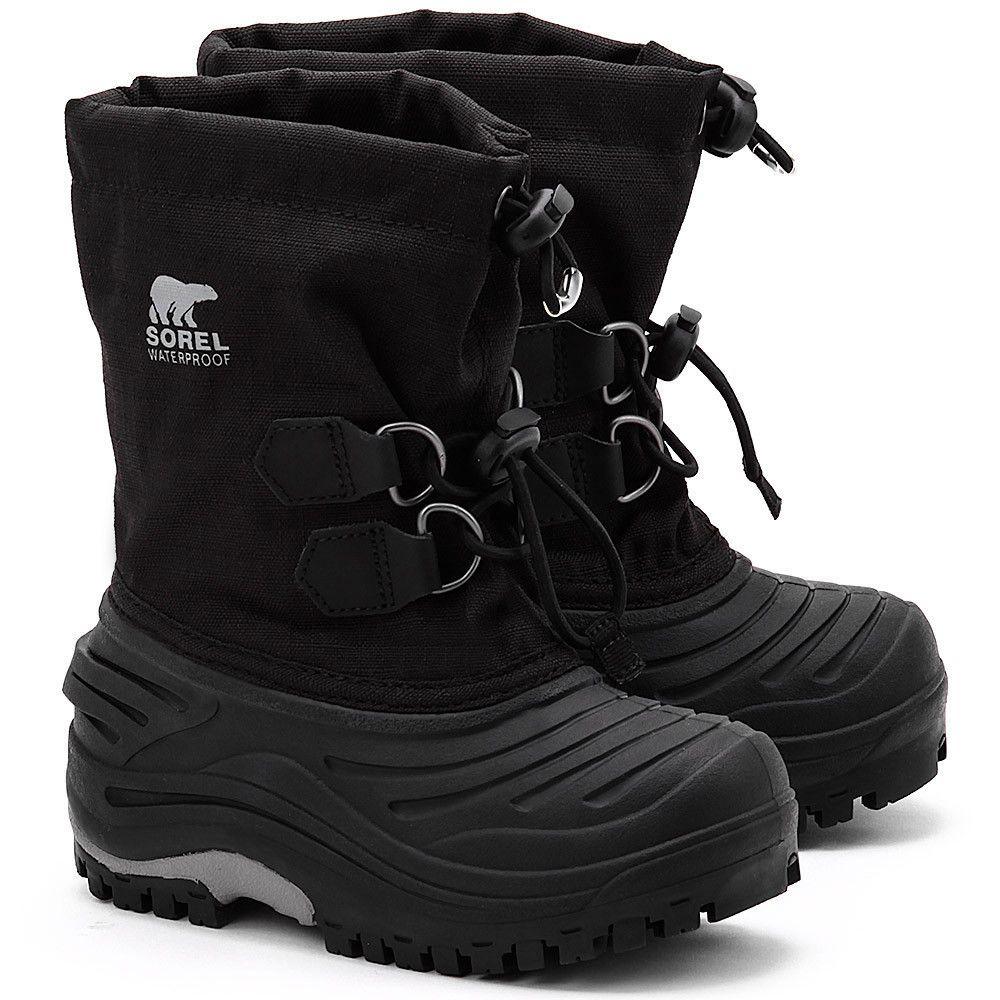 dfb4ef8f SOREL Super Trooper - Czarne Canvasowe Śniegowce Dziecięce - Buty Dzieci  Śniegowce   Mivo