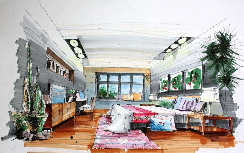 Captivating Good Interior Designers Drawings Bedroom Hand Draw Interior Design