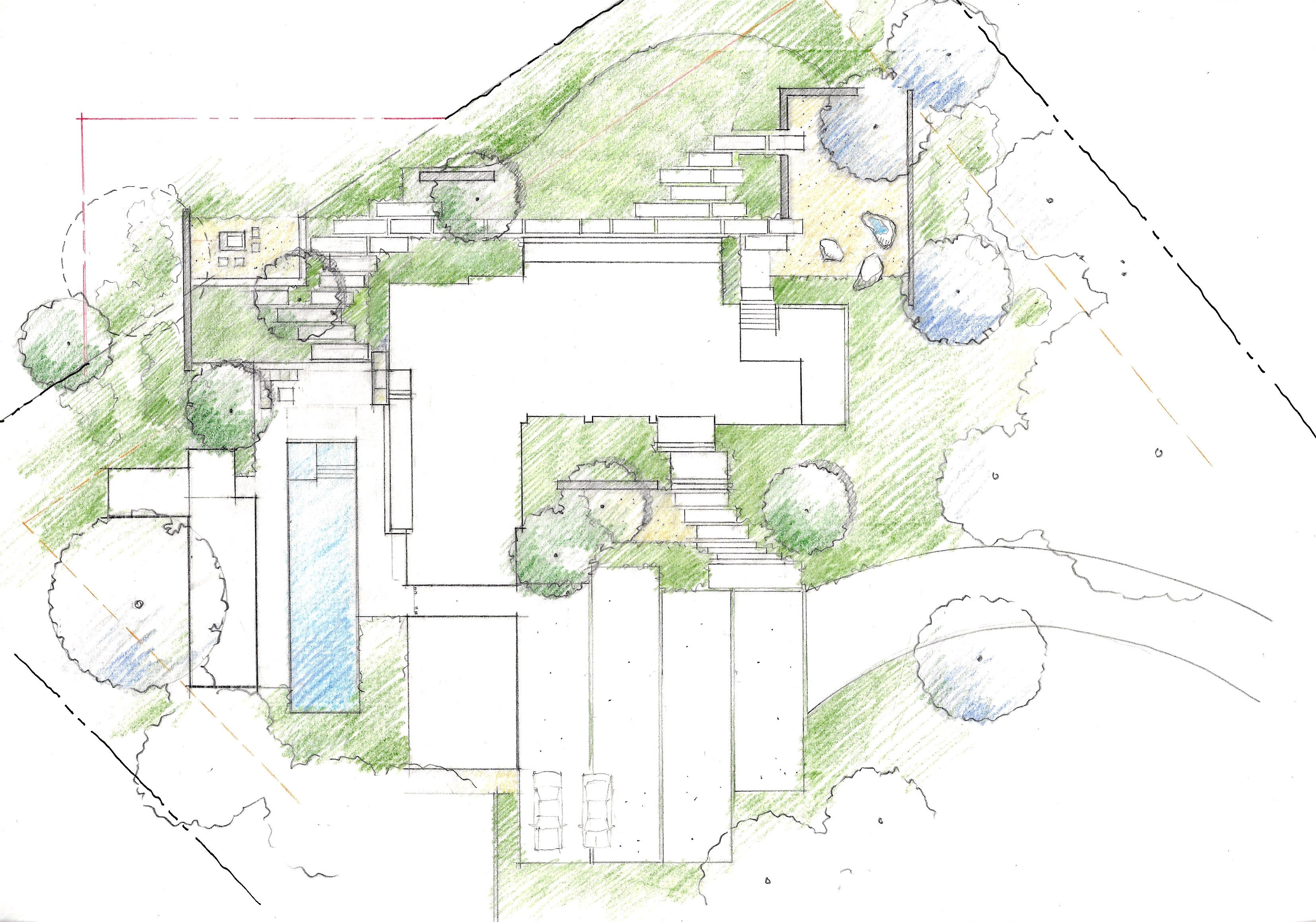 Peninsula residence: schematic site plan - pencil, colored pencil ...