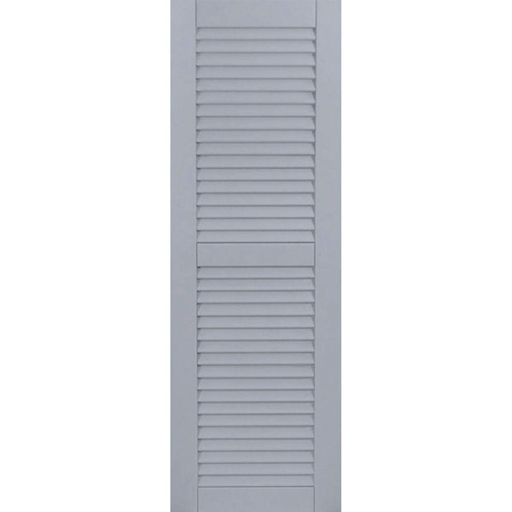 Ekena Millwork 12 In X 68 In Exterior Composite Louvered Shutters Per Pair Chrome Green Cwl12x068cgc The Home Depot Louvered Shutters Shutters Exterior Shutters