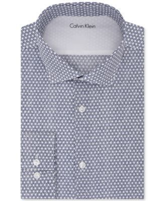 CALVIN KLEIN Calvin Klein X Men's Extra-Slim Fit Performance Navy Print Dress Shirt. #calvinklein #cloth # dress shirts