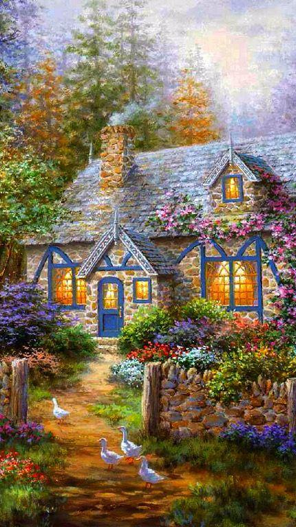390 Cottage Paintings Ideas Cottage Art Cottage Painting