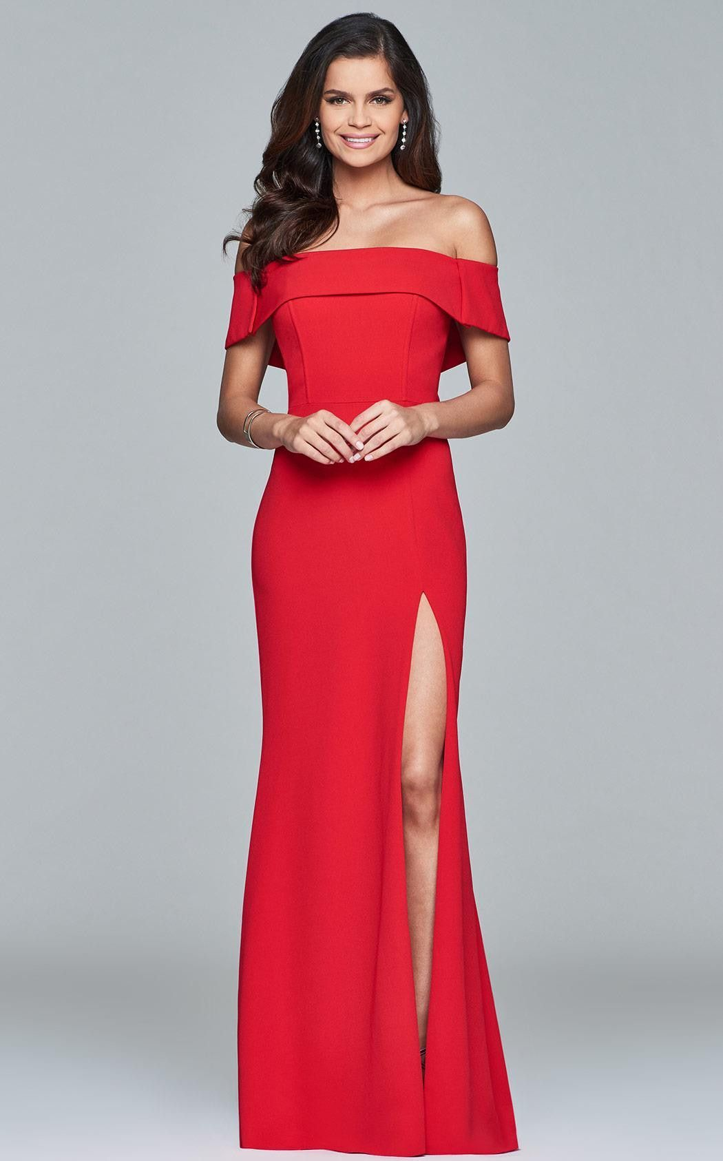 Faviana S8085 Strech crepe off the shoulder dress evening dress with front  slit. Faviana Style 0423d2f03a4b