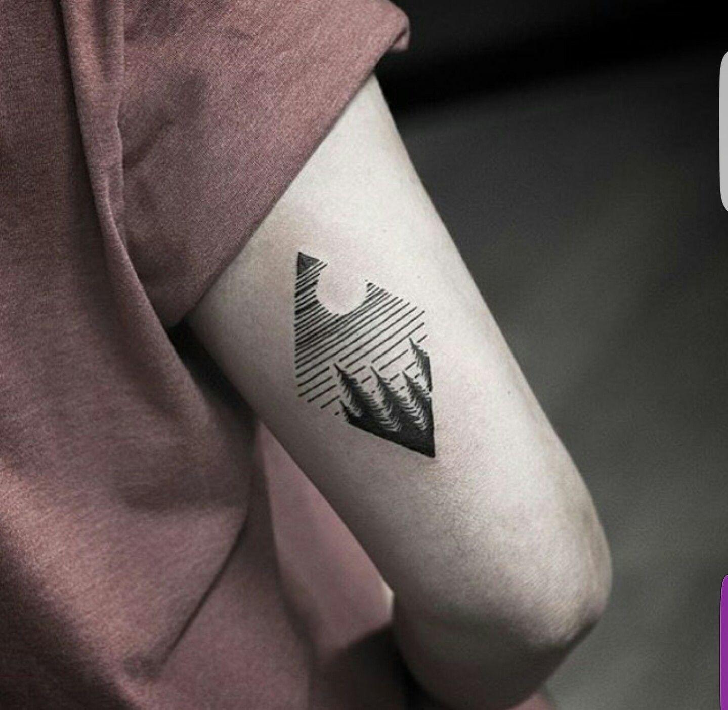 Diamond Evergreen Tree Tricep Tattoo Tatspiration Sleeve