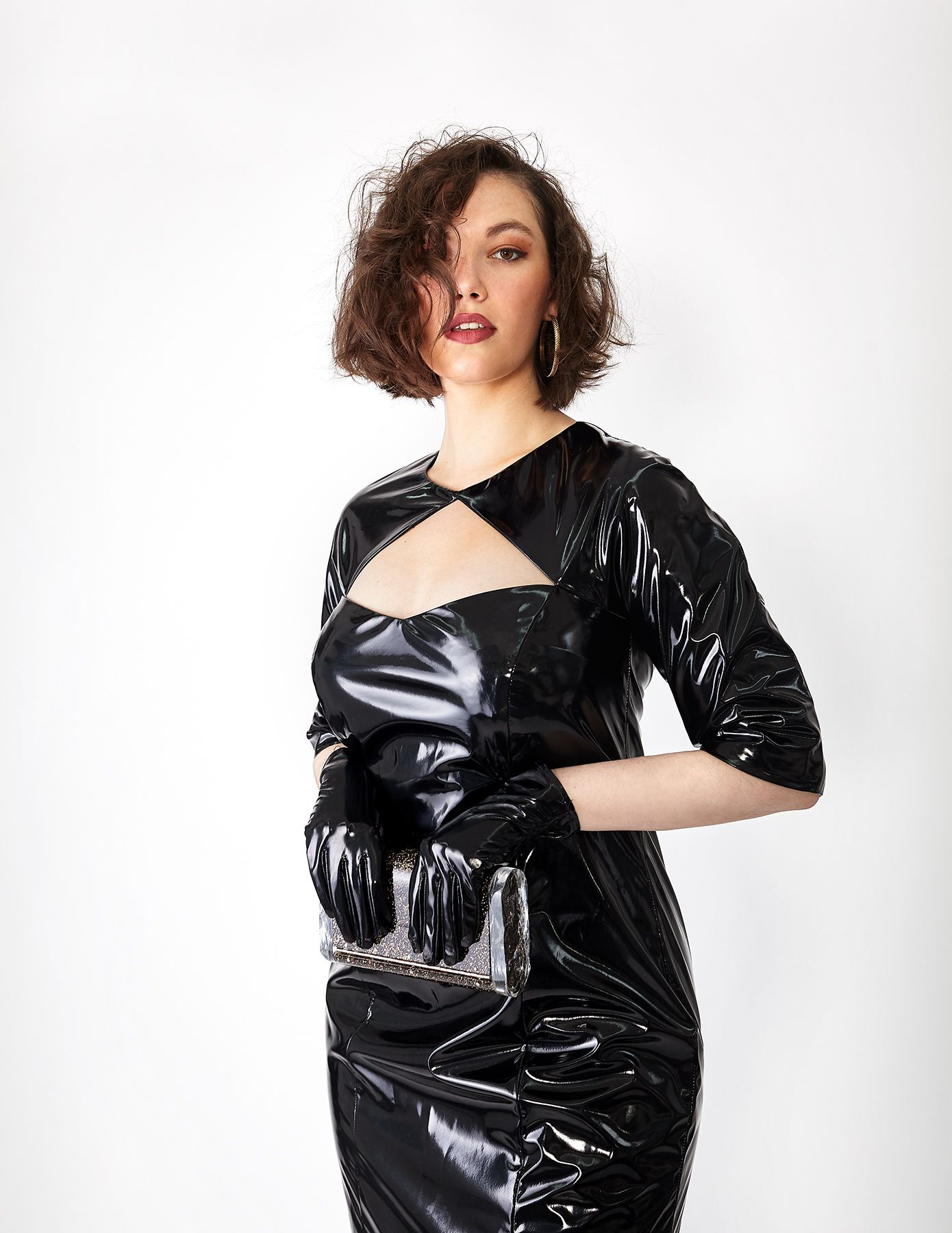 df0efbd88b Stunning dress made of super high gloss faux-latex. Available in sizes 8-18.