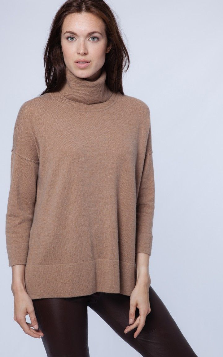 Camel ribbed turtleneck pullover | REPEAT cashmere | Turtlenecks ...