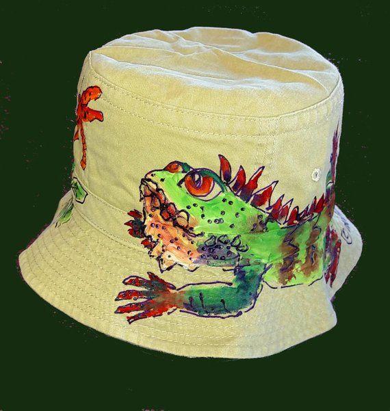 2353c07bd77 Mens or Boys iguana Baseball Cap or Bucket Hat Handpainted in 2019 ...