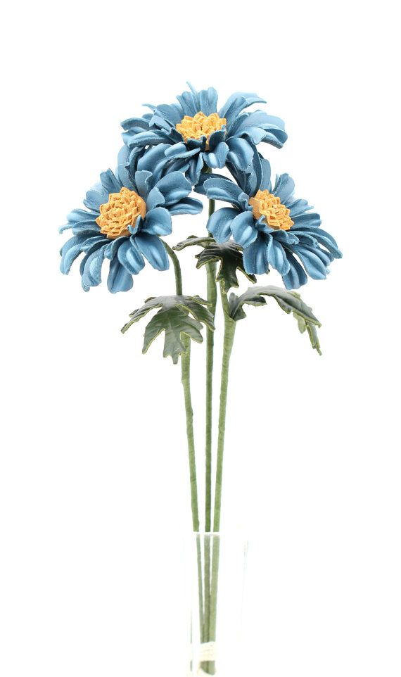 Leather Daisy Gerbera Blue Leather Flower Third Wedding Anniversary ...