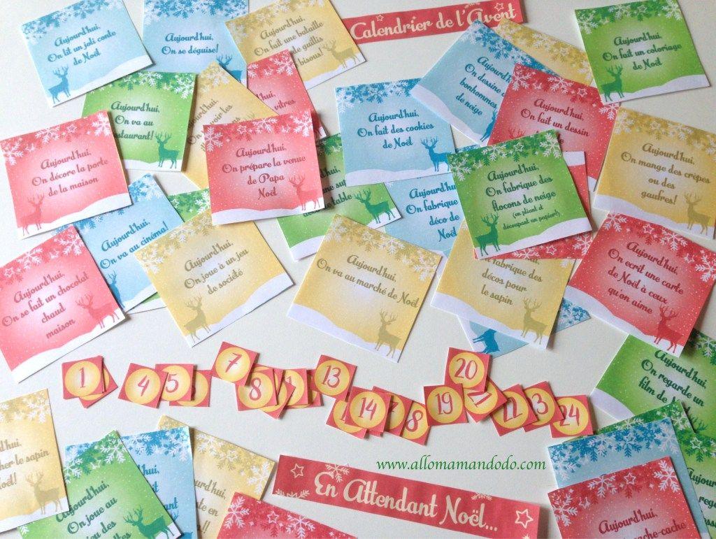Le calendrier de l'avent à imprimer (activités et partage en famille!) - Allo Maman Dodo