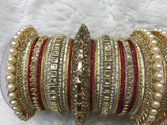 Bridal Bangles gold bangles red bangles indian bangles Heart