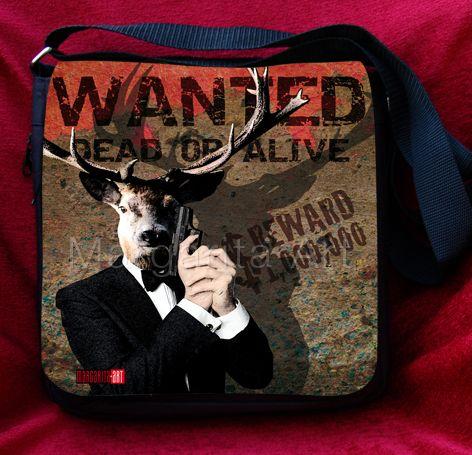 *Schicke Tragetasche / Schultertasche mit Hirsch-Design – James Bond Agent 007 *     Mit dieser Tasche fällst Du garantiert auf. Eine schicke und stra