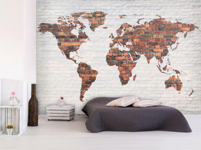 Bodenbelag Schlafzimmer ~ Weltkarte wand schlafzimmer wandgestaltung wandtapete heller