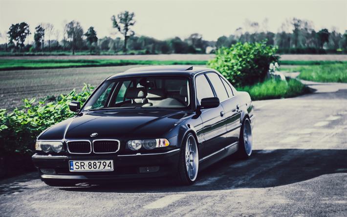 Lataa kuva 4k, BMW 7-sarja, tie, 740iA, viritys, E38, tuning, musta e38, BMW