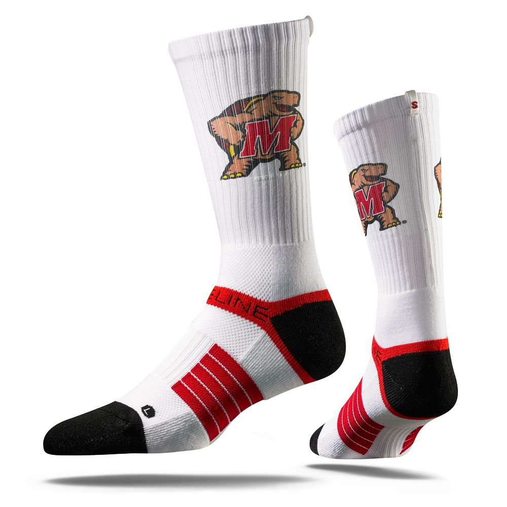 StrideLine University of Maryland Socks.  Strideline Skyline Socks feature Skyline themed, athletic crew socks for todays athlete and polished individual.