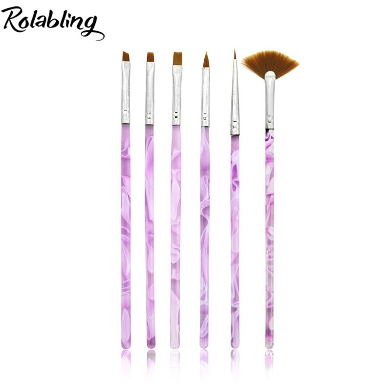 10set/pack Purple Nail Brushes Acrylic UV Gel Nail Art Tips Painting Brush Pen Builder Handle Tool For Nail Art Painting