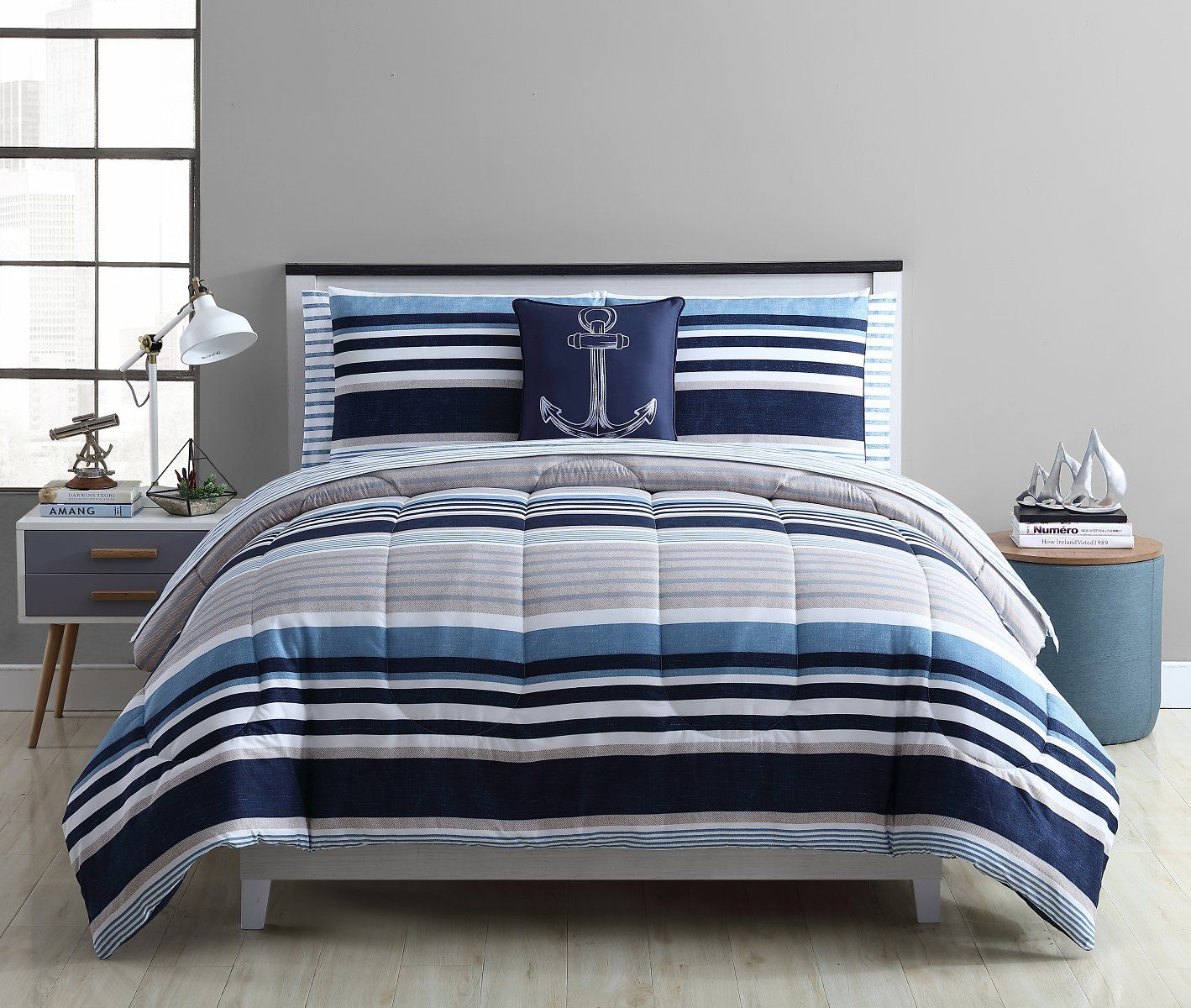 Mainstays Stripe Bed in a Bag Bedding Set