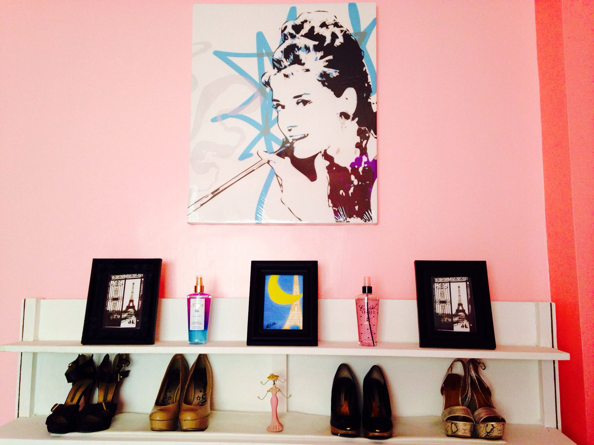 added the audrey hepburn to complete this paris wall