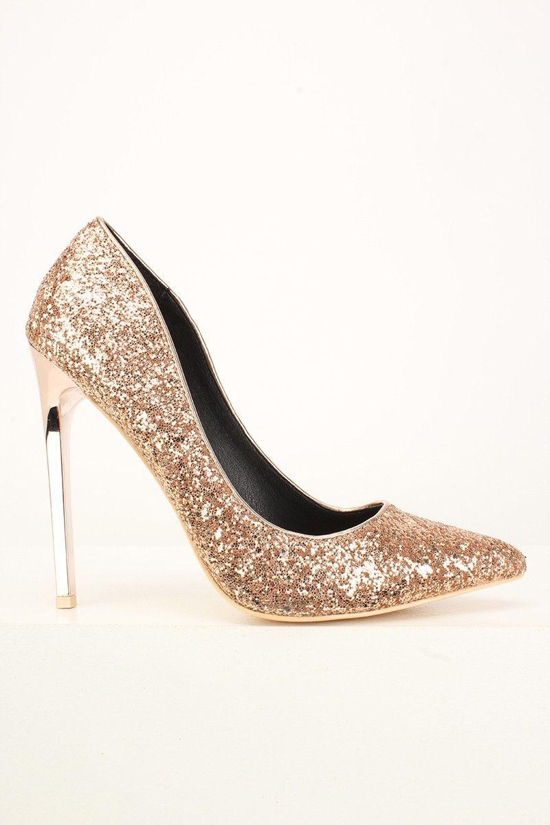 Rose Gold Glitter High Heel Pumps