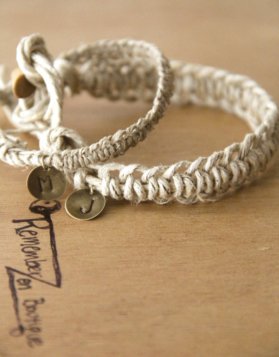 24e78e4966bf Hemp Bracelets with a charm. Custom COUPLES BRACELETS- 2 matching bracelets