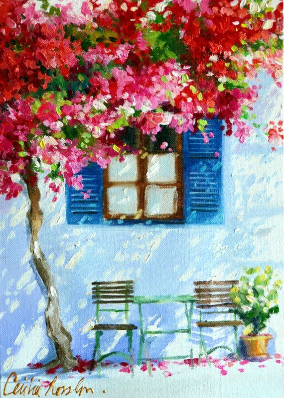 Art Print of BLOU LUIKE and Bougainvillea Painting | Greek Sidewalk With Blue Shutters by Cecilia Rosslee