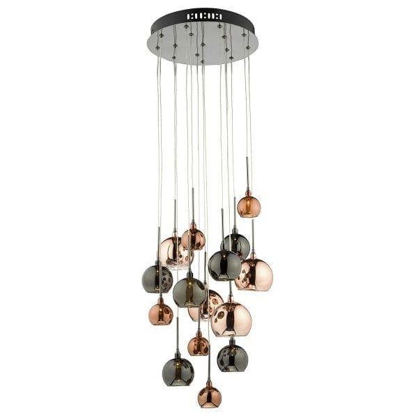 Aurelia 15 Light Cluster Pendant In Copper Dark Copper And Black Cluster Pendant Lighting