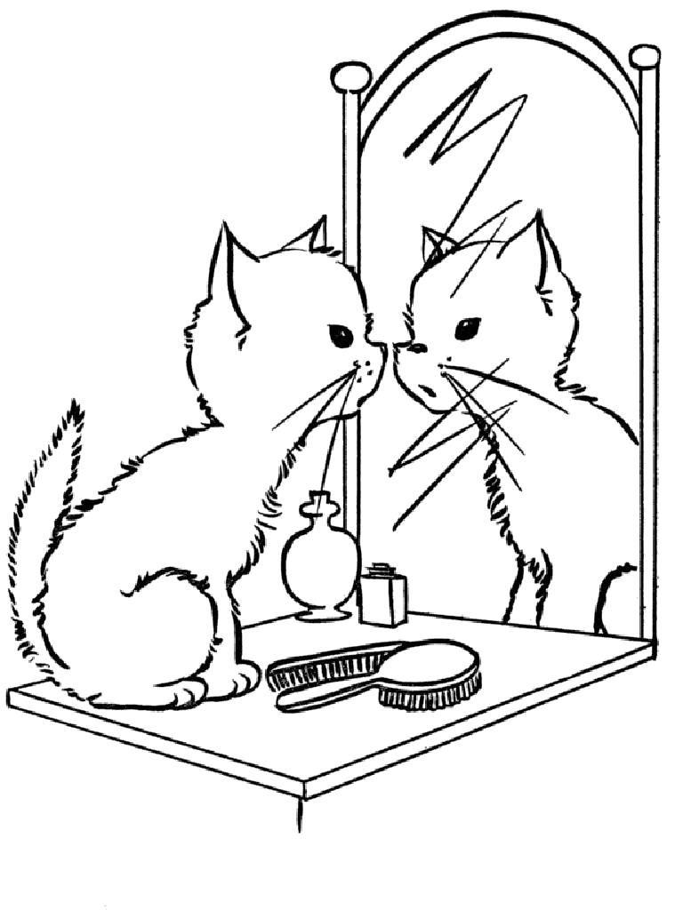 Раскраска Котёнок у зеркала. Скачать Котенок. Распечатать ...