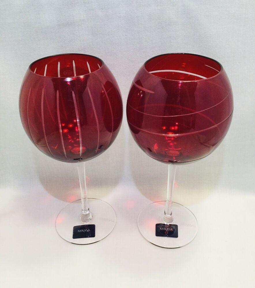 Pair Mikasa Cheers Ruby Balloon Wine Glass Stemware 24 5 Oz 5072043 2840 Mikasa Contemporary In 2020 Glass Stemware Stemware Wine Glass