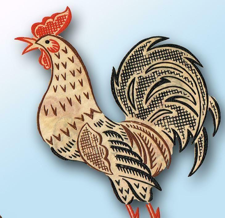 1950s Rooster Tea Towel Vogart Textilprint 22 Color Hot Iron Transfer Uncut ORIG