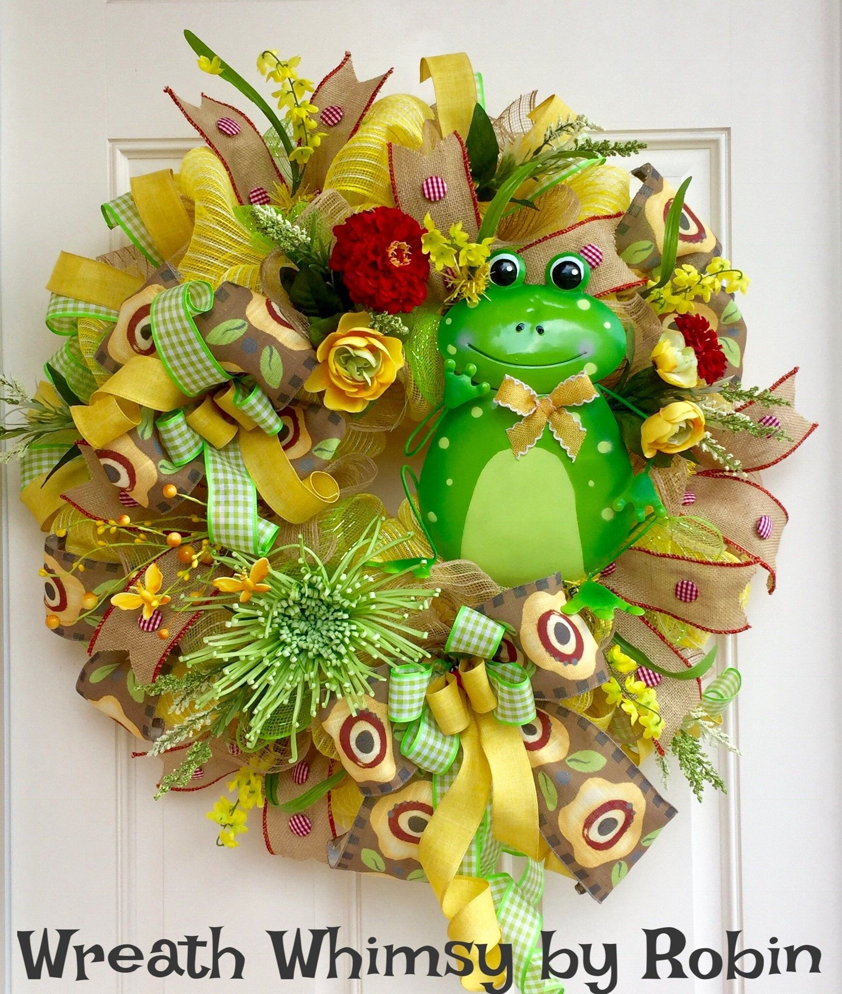 Spring Summer Deco Mesh Floral Wreath in Green and Yellow with Metal ...
