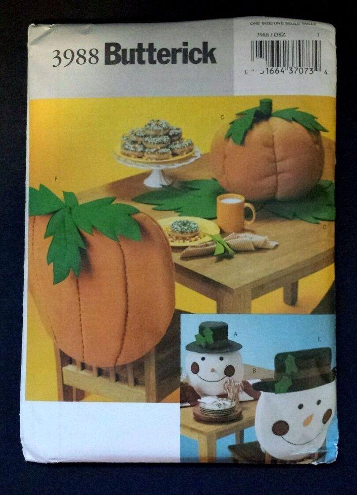 Butterick Pattern 3988 Tabletop Decor Fall Halloween Thanksgiving Christmas Uc Butterick Get Crafty Chair Back Covers Halloween Patterns