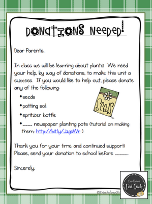 Possible Donation Letter To Parents For Plants Unit  Science And