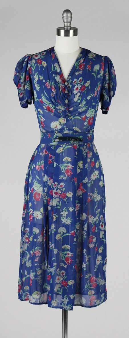 1940s Fashions In Red White Blue With Images: Vintage 1940s Dress . Blue Silk Crepe . Flowers Print