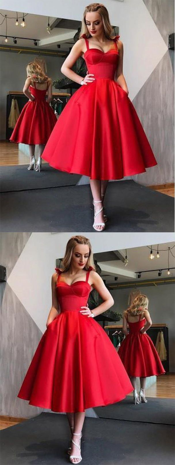 Red bowknot straps short prom dress cut out back homecoming dress