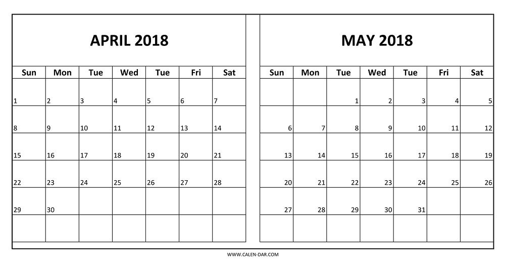 two month april and may 2018 calendar printable