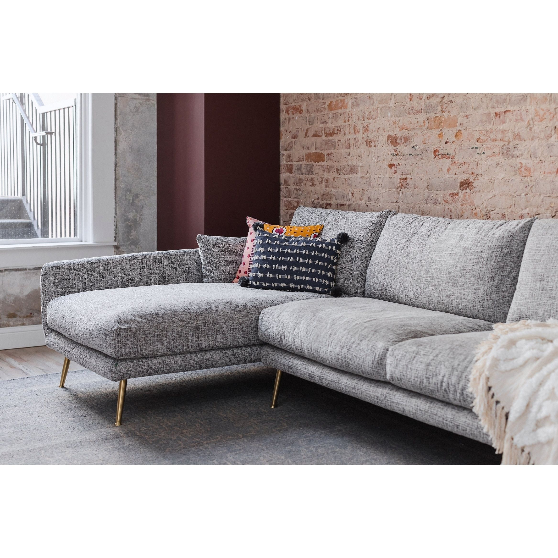 Stupendous Hayley Grey Upholstered Mid Century Modern Sectional Sofa Squirreltailoven Fun Painted Chair Ideas Images Squirreltailovenorg