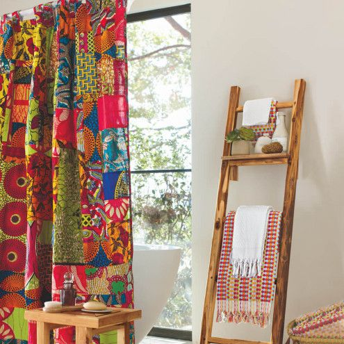 african print patchwork shower curtain | traditional design