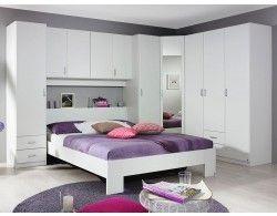 Chambre Complete Kronos 160x200 Cm Blanc Small Bedroom Wardrobe Apartment Bedroom Design Bed