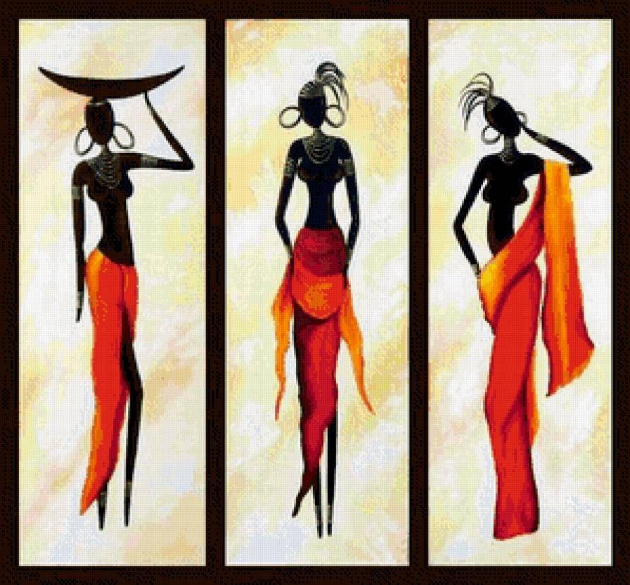 триптих с африканскими девушкам, предпросмотр