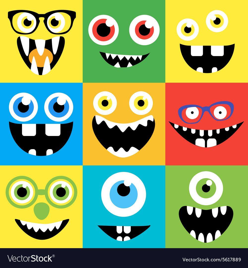 Cartoon monster faces vector set. Smiles, eyes, eyeglasses