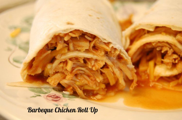 Crock Pot Barbeque Chicken Roll Up