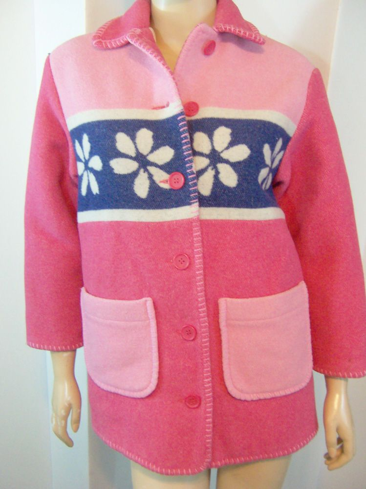 6097d151c2b Made In Italy OF BENETTON Pink Blue Flower Needlepoint Topstitched Coat L   Benetton  Italy  Coat  Jacket