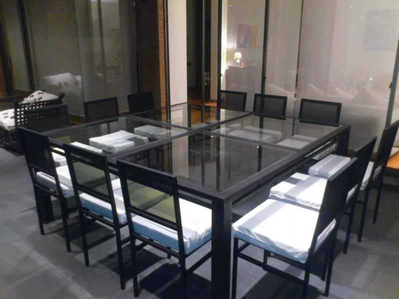 Comedor terraza metal 12 sillas fierro 4 cuadrados vidrio ...
