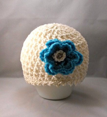 Crochet Cream Aqua Beanie Hat with Flower by FairyThimbles on Etsy, $20.00