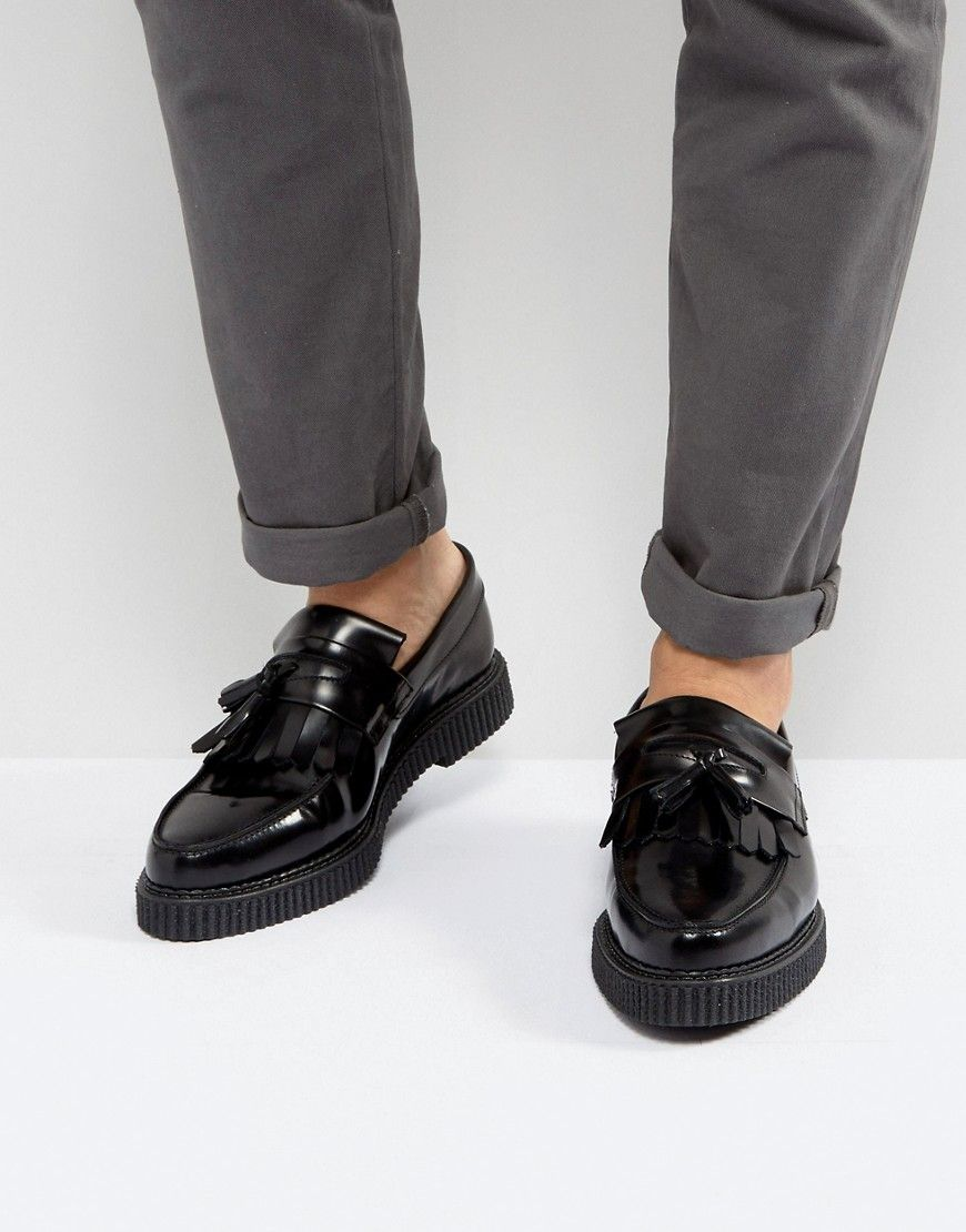 d8186d4bb61 ASOS Loafers In Black Leather With Creeper Sole - Black