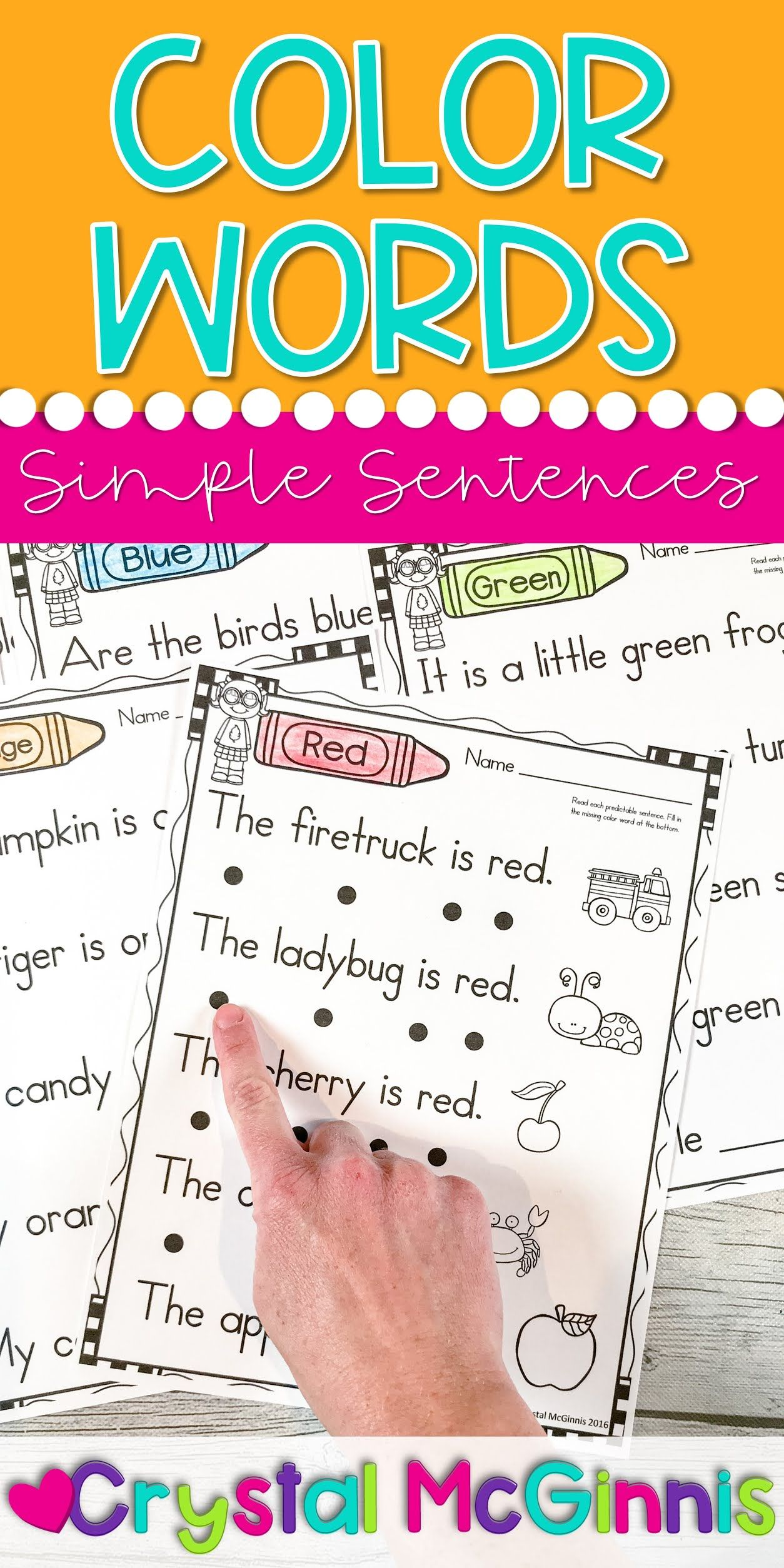Color Words Simple Sentences Reading Practice For New Readers Mrs Mcginnis Little Zizzers Teaching Spelling Dyslexia Activities Reading Practice [ 2508 x 1254 Pixel ]
