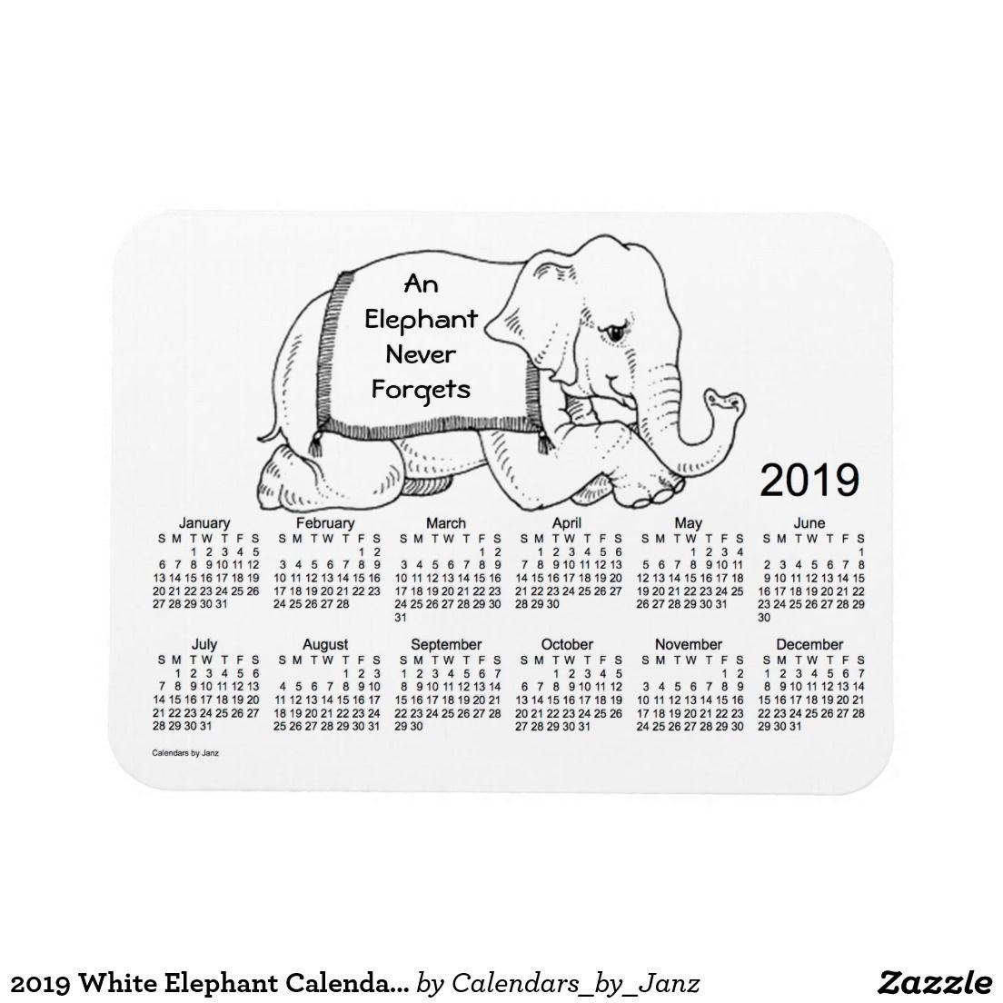 White Elephant Gift Ideas 2020 Pinterest 2019 White Elephant Calendar by Janz 3x4 Mag| W❤Pinterest