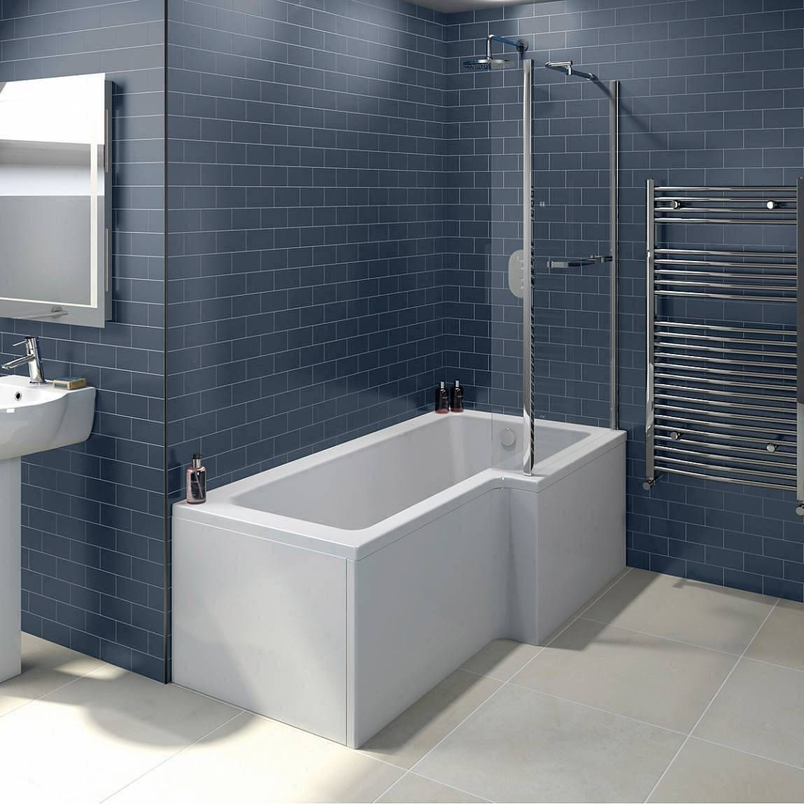 Orchard L shaped right handed shower bath 1700mm with 6mm shower ...