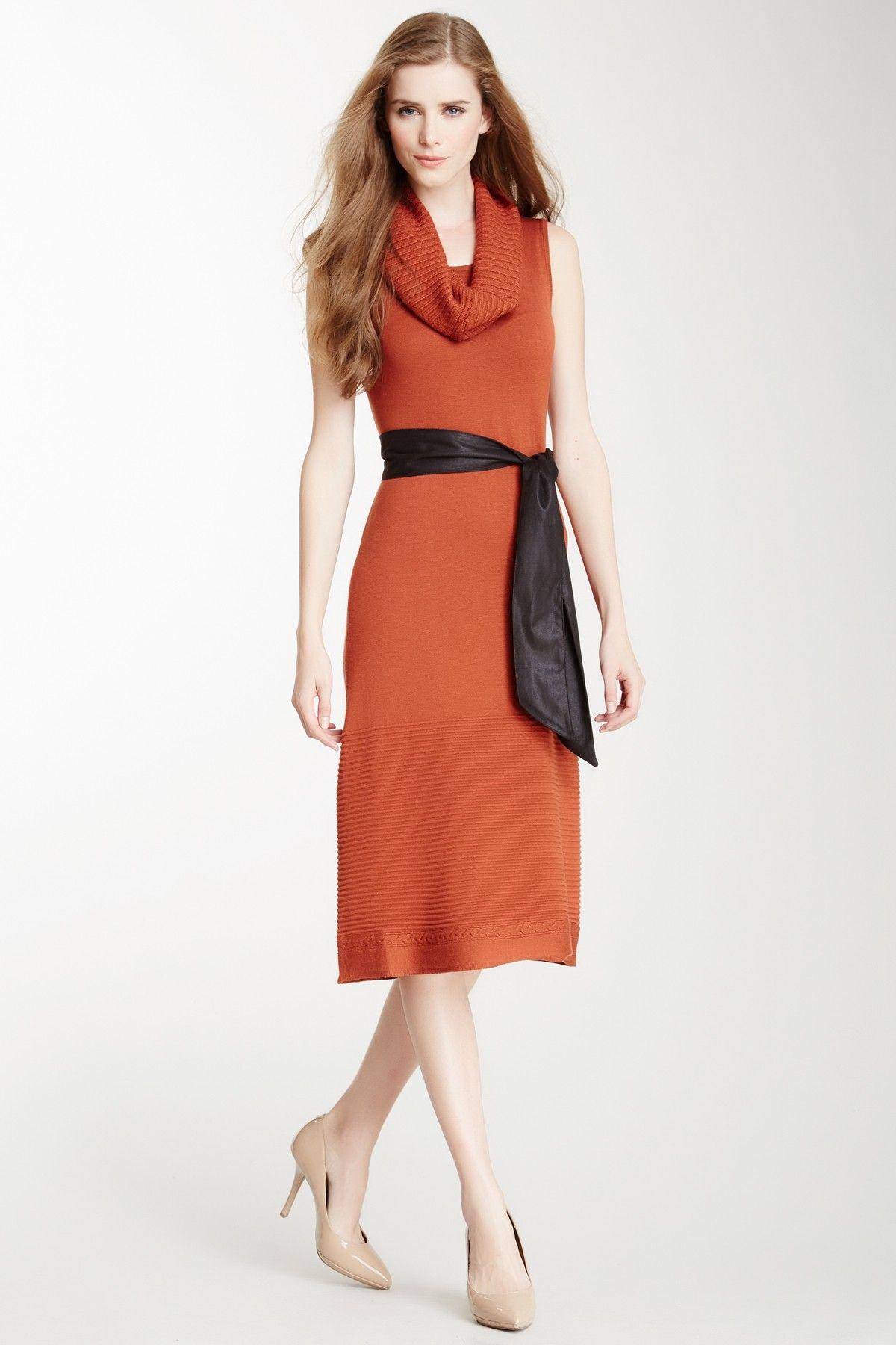 Detachable Cowl Neck Belted Knit Dress