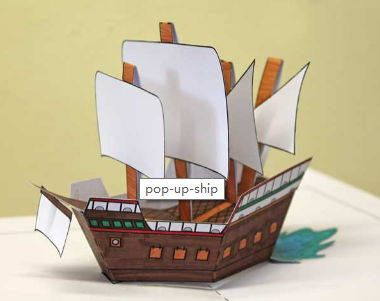 Pop Up Mary Rose Ship Free Paper Toy Download Paper Toys Pop Up Card Templates Paper Crafts